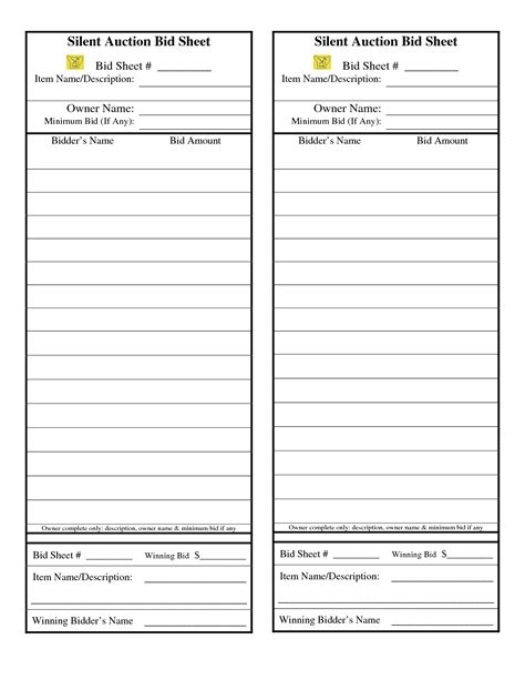 silent auction bid sheets pdf and sample of silent auction bid