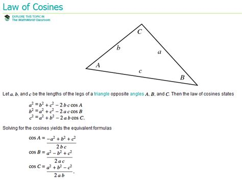 what is section in law 12 4 law of cosines mr thompson