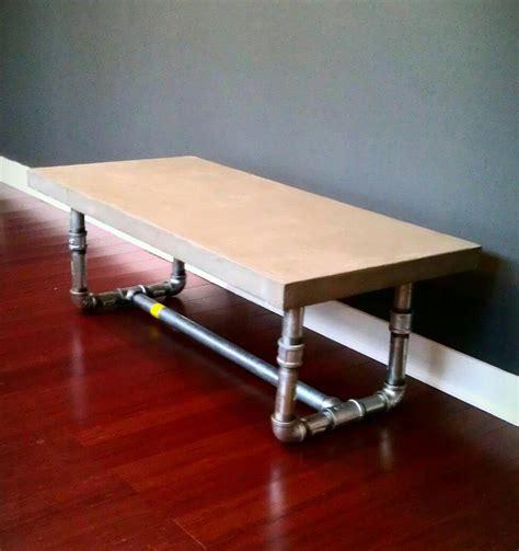 pipe leg coffee table concrete table top concrete