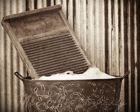 Vintage Rustic Sepia Brown Laundry Washboard Wash Day Vintage Laundry