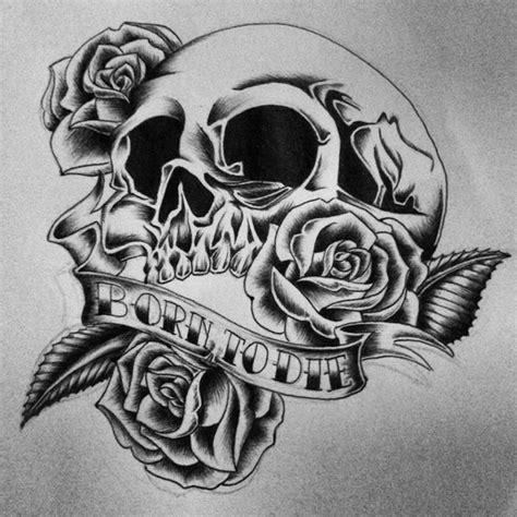 tattoo design old skull with roses vbk pinterest