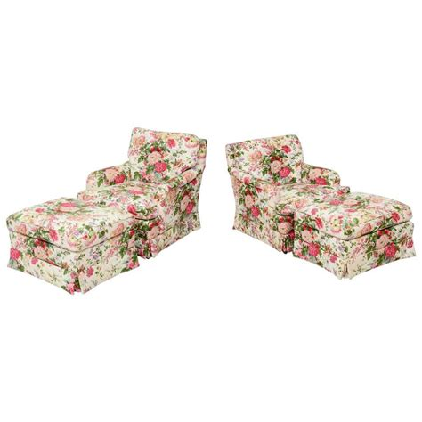 chintz armchair pair of chintz upholstered armchairs with ottomans at 1stdibs
