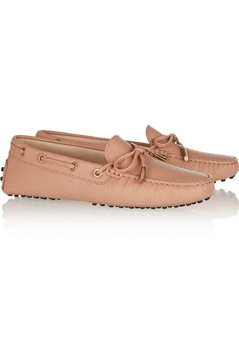 orange leather loafers tod s gommino textured leather loafers in orange lyst