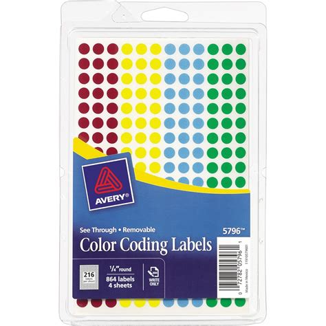 color coding labels avery 05796 avery see through color coding label