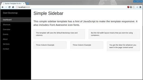 bootstrap themes basic bootstrap theme factory simple sidebar