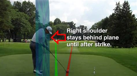 swing to the right the right shoulder wall of golf