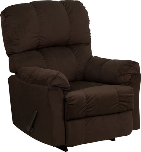 best rocker recliners flash furniture contemporary top hat chocolate microfiber