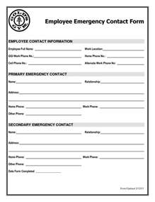 Emergency Information Template by Best Photos Of New Employee Contact Form Employee