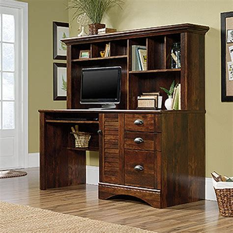 Sauder Computer Desks With Hutch Sauder Harbor View Curado Cherry Computer Desk With Hutch 420475 The Home Depot