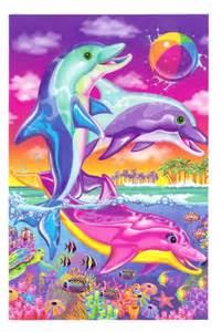 lisa frank dolphins postcard ocean sea