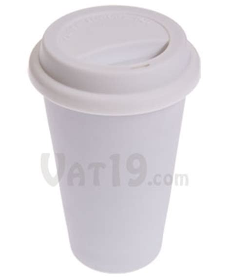 I Am Not a Paper Cup: Double walled porcelain coffee mug with silicone lid.
