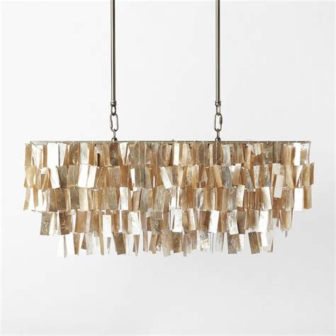 Gold Capiz Chandelier Large Rectangular Capiz Pendant Gold Contemporary Pendant Lighting By West Elm