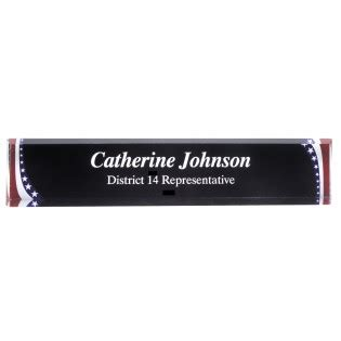 engraved and stripes acrylic desk name plate
