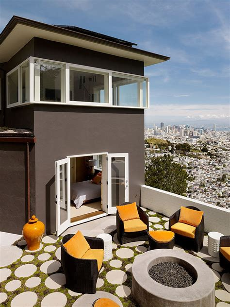 mid century modern window trim home updated with modern interiors rooftop garden and