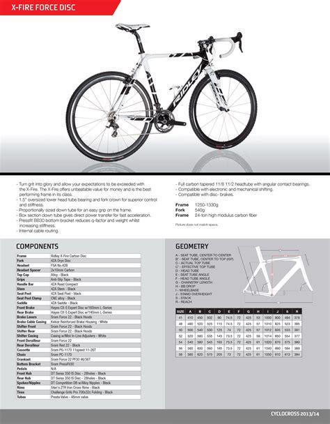 ridley pdf fiche technique ridley le v 233 lo de cyclocross en carbone