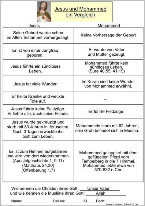 Lebenslauf Unterrichtsmaterial Jesus Und Mohamed Eine Gegen 252 Berstellung Arbeitsbl 228 Tter Mit L 246 Sungen