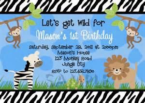 birthday invitations boys jungle 1st invites birthday invitations