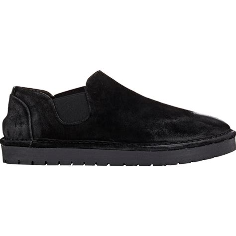 mars 232 ll suede slip on shoes in black for lyst