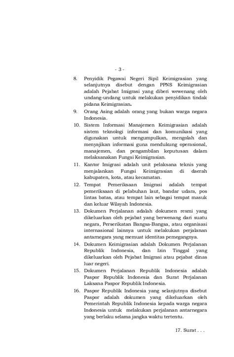 Undang Undang Keimigrasian uu 6 tahun 2011 tentang keimigrasian