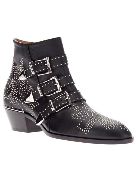 studded ankle boots chlo 233 studded ankle boot in black lyst