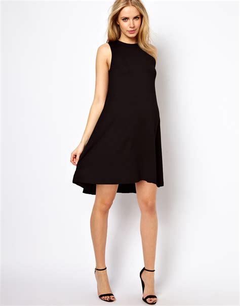 swing outfits asos sleeveless swing dress in black lyst