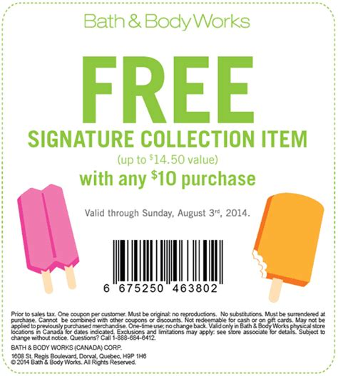 printable free item bath and body works bath body works canada promotional coupon get a free