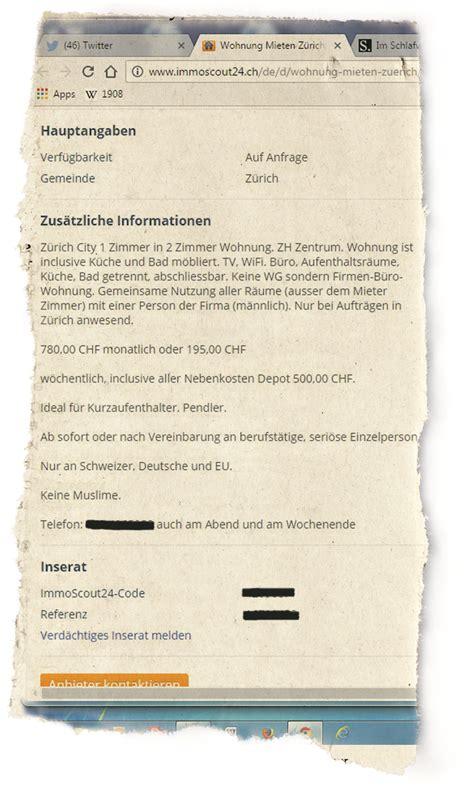 Wohnungsinserat Schreiben Muster Wohnungsinserat 171 Nur An Schweizer Keine Muslime 187 Schweiz Az Badener Tagblatt