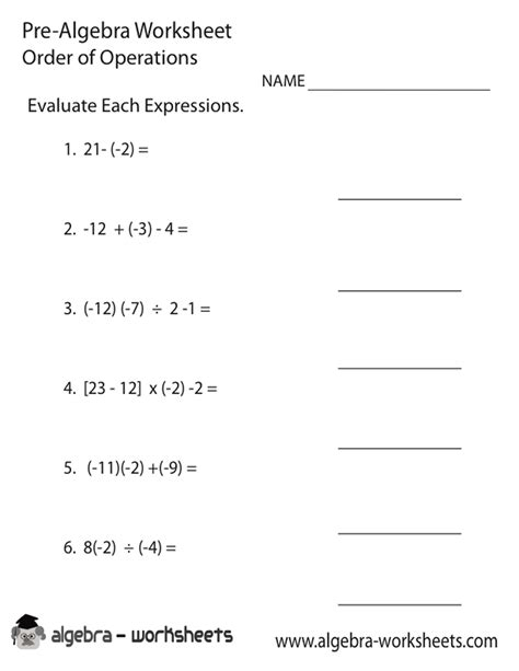 easy order of operations worksheets pdf
