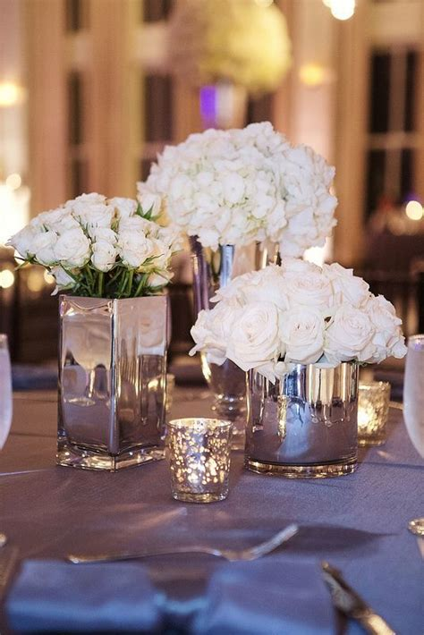 silver mirrored vases white flowers google search