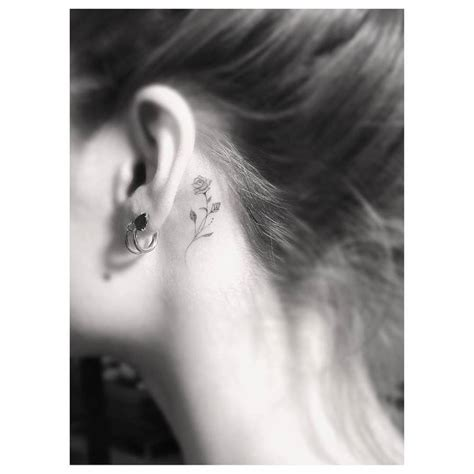 music note tattoo behind ear tumblr small rose tattoo behind the left ear