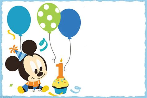 Mickey Mouse Card Template by Free Printable Baby Mickey Mouse Invitation