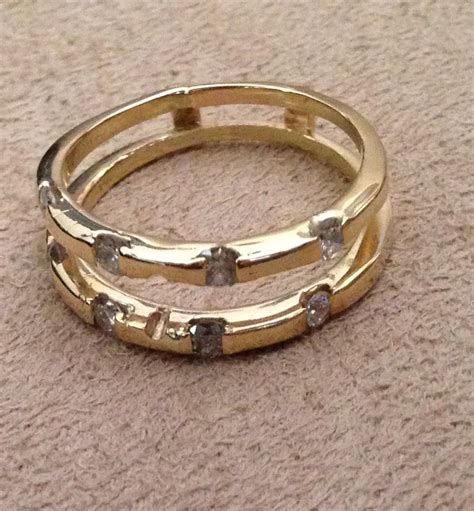14kt yellow gold wedding anniversary ring guard