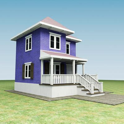 small house model 3d small town house building model