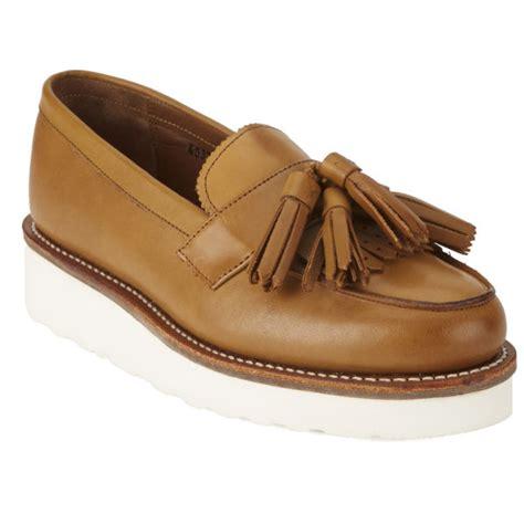 platform loafers uk grenson s clara v leather platform tassel loafers