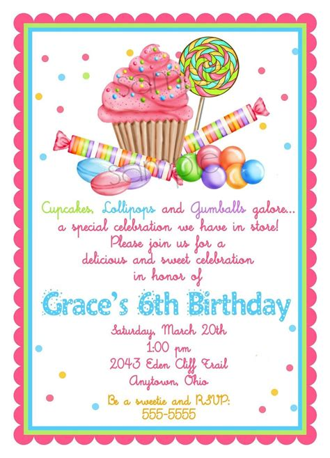lalaloopsy invitation template party invitations ideas sweet shop birthday party invitations candy cupcake