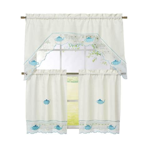 Embroidered Kitchen Curtains Window Elements Pineapple Embroidered 3 Kitchen Curtain Tier And Valance Set Ymc001545