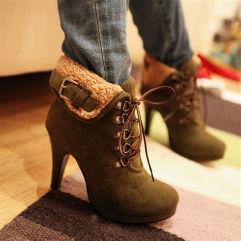 2015 new winter string fur ankle boots leather