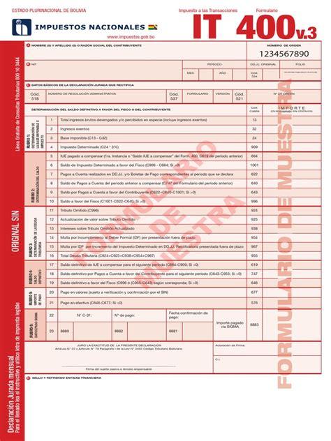 formulario 200 v3 y 400 v3 a partir de bolivia impuestos it 400 muestra iva 200 muestra