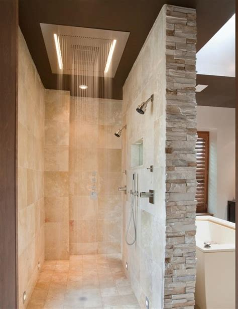 Nice Small Formal Living Room Ideas #4: Elegant-doorless-shower-designs-with-unique-shower-ideas-also-bricks-wall-accent-and-modern-shower-and-faucet-design-also-small-ceiling-lights.jpg