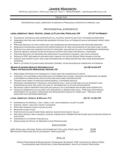 legal secretary resume exles http www jobresume