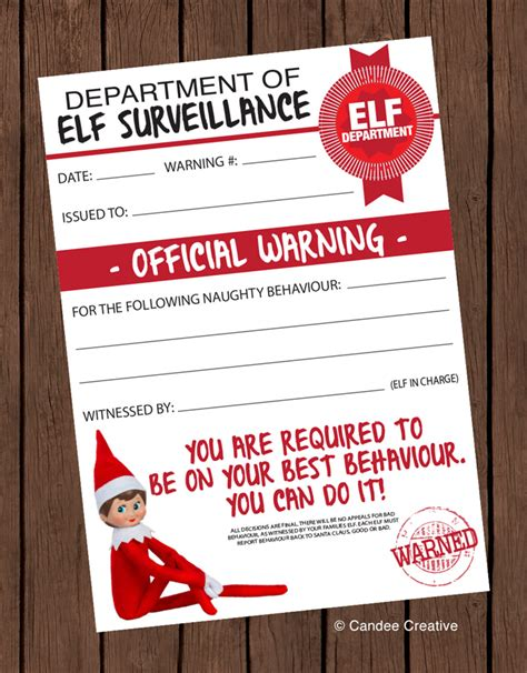 free printable elf on the shelf warning letter elf on the shelf official warning printable design