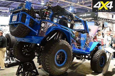 electric jeep conversion all electric jeep jk wrangler at sema 4x4 australia