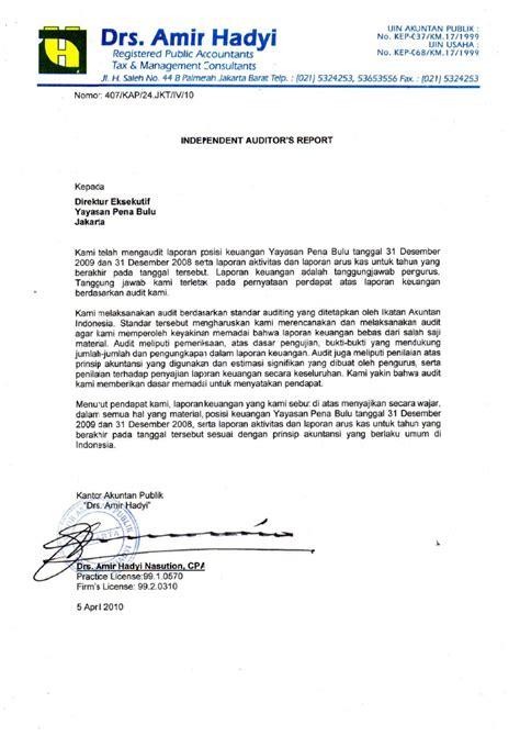 format laporan audit operasional opini auditor independen dan laporan keuangan yayasan