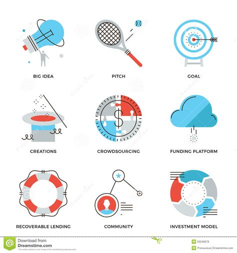 crowdsourcing design crowdsourcing and funding line icons set stock vector