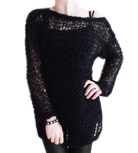knitting pattern holey jumper ripleys clothing black fluffy mohair holey top knit jumper