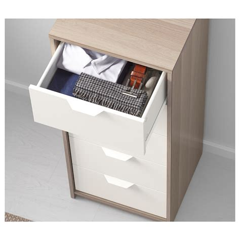 ikea askvoll askvoll chest of 5 drawers white stained oak effect white