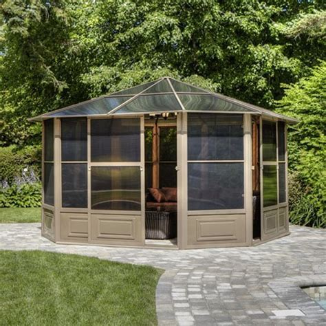 screen gazebo shop gazebo penguin brown metal octagon screened gazebo