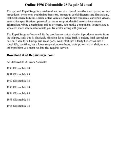 car repair manuals online pdf 1996 oldsmobile 98 engine control 1996 oldsmobile 98 repair manual online