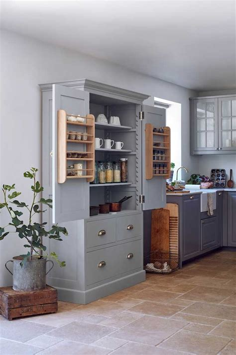 hand  bespoke shaker kitchen larder cupboard painted