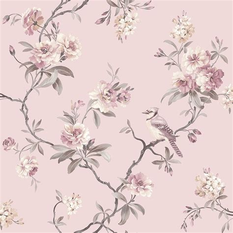 Vintage Shabby Chic Home Decor fine decor chinoiserie floral wallpaper pink fd40766